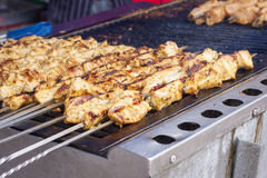Chicken kebab skewers Royalty Free Stock Photos