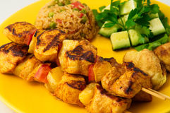 The chicken kebab on skewers with vegetables Royalty Free Stock Photography