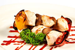 Chicken kebab with vegetables Stock Photo