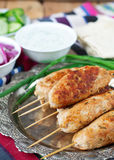 Chicken kebab with vegetables, sauce and pita. Chicken kebab with vegetables, sauce Royalty Free Stock Photo