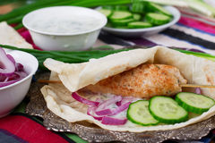 Chicken kebab with vegetables, sauce and pita. Chicken kebab with vegetables, sauce Royalty Free Stock Images
