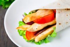 Chicken kebab wrap Royalty Free Stock Images