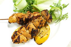 Chicken kebabs from above Stock Images