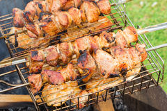 Chicken kebabs chicken in nature. Fresh kebabs on skewers grilled over charcoal on the street Royalty Free Stock Photos