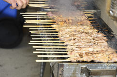Chicken kebabs on the grill and human fingers Royalty Free Stock Image