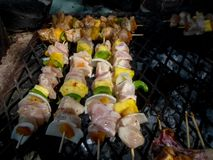 Rustic chicken kebabs royalty free stock photography