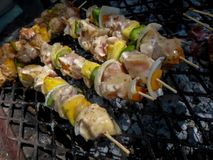 Rustic chicken kebabs royalty free stock image