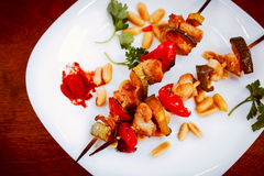 Chicken kebabs with pepper and zucchini, toned, close-up. Chicken kebabs with pepper and zucchini, toned effect Royalty Free Stock Image