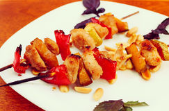 Chicken kebabs with pepper and zucchini, toned, close-up. Chicken kebabs with pepper and zucchini, toned effect Royalty Free Stock Photography