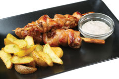 Chicken kebabs with potato Stock Photo