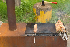 Chicken kebabs ready to place on the hot barbecue Stock Image