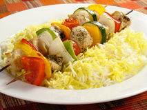 Chicken Kebabs and Rice royalty free stock images