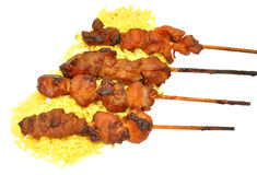 Chicken Kebabs With Rice Stock Photos