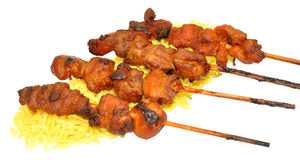 Chicken Kebabs With Rice Stock Photo
