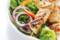Chicken Kebabs and Salad Royalty Free Stock Images