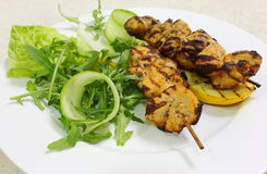 Chicken kebabs side view Stock Photos