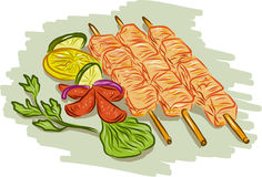 Chicken Kebabs Vegetables Drawing Royalty Free Stock Image