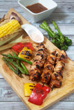 Chicken Kebabs and vegetables Royalty Free Stock Images