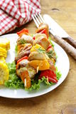 Chicken kebabs with vegetables Stock Photography