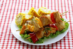 Chicken kebabs with vegetables Stock Photos