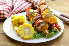 Chicken kebabs with vegetables Royalty Free Stock Photo