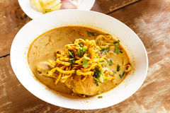 Chicken khao soi, Thai noodle food Stock Photo