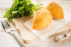 Chicken Kiev cutlets with parsley leaves and butter Royalty Free Stock Image
