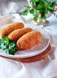 Chicken Kiev cutlets with parsley leaves. Ukrainian tradition food. Food Stock Photography