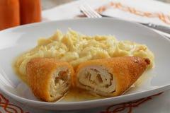 Chicken Kiev with mashed potato Royalty Free Stock Photos