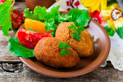 Chicken Kiev. Traditional Ukrainian dish. style rustic. selective focus Royalty Free Stock Photography