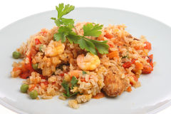 Chicken and King Prawn Paella Stock Images