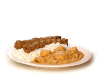 Chicken Korma. With rice and kebab Stock Photos
