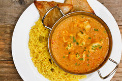 Chicken korma balti dish. Chicken Korma a popular indian curry dish and favourite with people not keen on spicy food Royalty Free Stock Photography