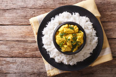 Chicken Korma of coconut and cream sauce served in a rice. horiz Royalty Free Stock Photo