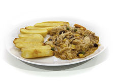 Chicken Korma curry and chunky chips Royalty Free Stock Photography