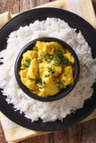 Chicken Korma on a mildly spiced creamy sauce close-up. Vertical Royalty Free Stock Photo