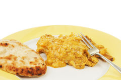 Chicken Korma and naan cloesup. Closeup of Chicken Korma curry and naan bread Stock Photography
