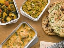 Chicken Korma, Sag Aloo, Mushroom Pilau Stock Photography