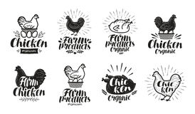 Chicken label set. Food, poultry farm, meat, egg icon or logo. Lettering vector illustration. Isolated on white background Stock Photo