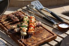 Kebabs ready to cook on a barbacue Stock Photo