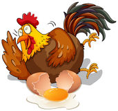 Chicken laughing and cracking egg. Illustration Royalty Free Stock Images