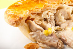 Chicken and Leek Pie. Cut open on plate. Close up royalty free stock images