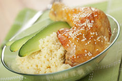 Chicken leg and couscous Royalty Free Stock Image