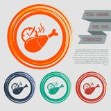 Chicken leg or drumstick icon on the red, blue, green, orange buttons for your website and design with space text. Illustration Stock Photo