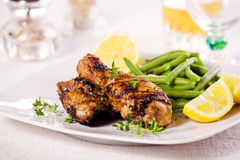 Chicken Leg And French Beans Stock Photography
