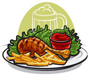 Chicken leg and fries Stock Photo