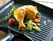 Chicken leg on a grill-pan Royalty Free Stock Photo