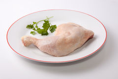 Chicken leg with parsley Royalty Free Stock Photography