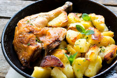Chicken leg and potato Royalty Free Stock Image