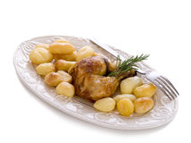 Chicken leg with potatoes Royalty Free Stock Image